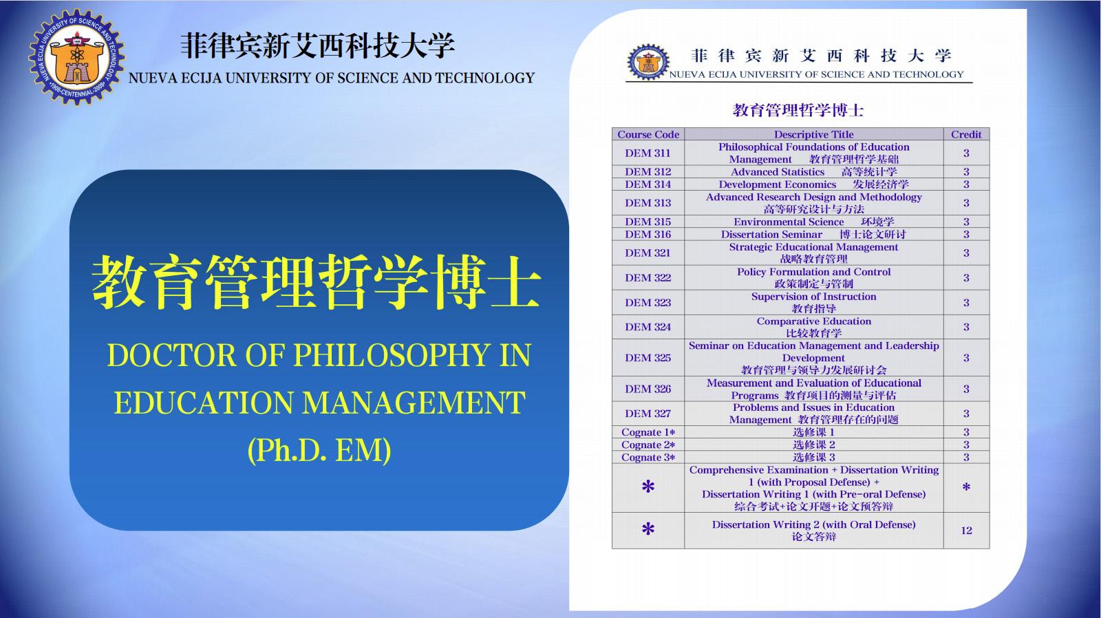 菲律宾新艾西科技大学-教育管理博士
